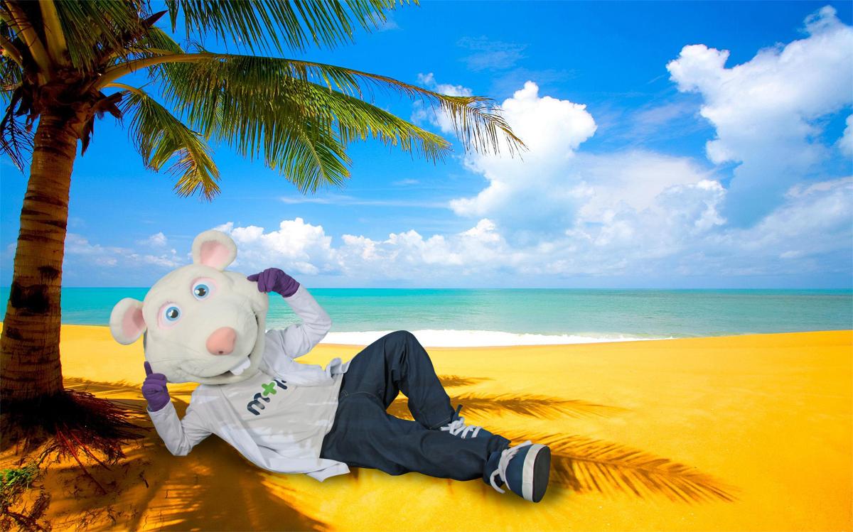 001-Maskota Miško Polo na plaži