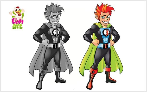 Ilustracija maskota Super heroj Tim